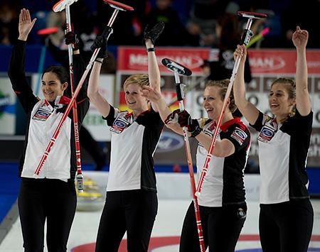 Swift Current Sk, March 25, 2016.Ford World Woman's Curling Championship.Switzerland (L-R) skip Binia Feltscher, second Franziska Kaufmann, third Irene Schori, lead Christien Urech, Curling Canada/ michael burns photo